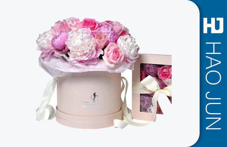 Romantic Round Cardboard Boxes For Flower Arrangements With Ribbon