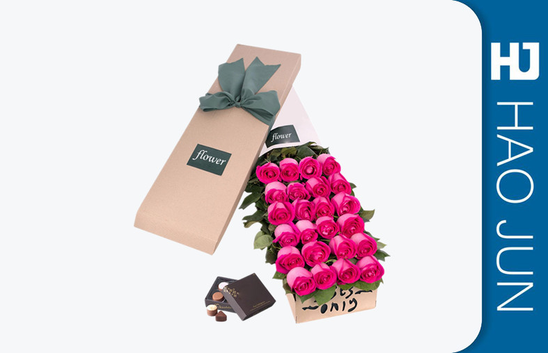 Rectangle Luxury Cardboard Flower Boxes For Roses Packaging Flower Presentation Box